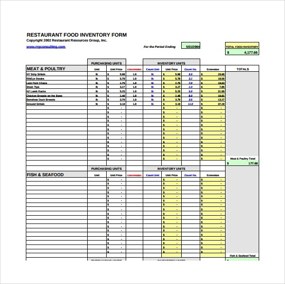 Sample Restaurant Inventory  11 Documents in PDF