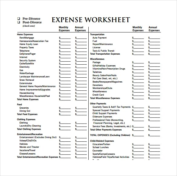 14 Sample Expense Sheet Templates to Download | Sample Templates