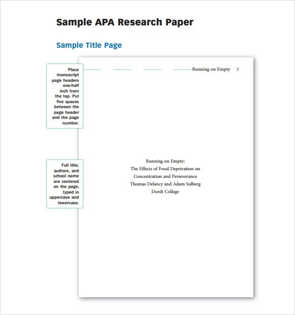 9 Sample APA Outline Templates Sample Templates