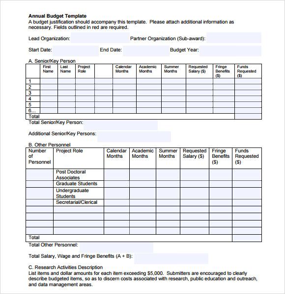 Grant Budget Form