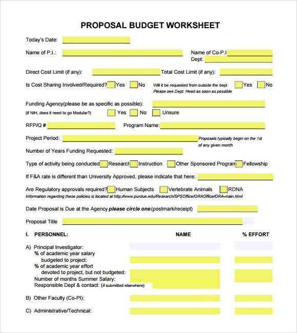 7 Budget Proposal Templates – Free Samples Examples