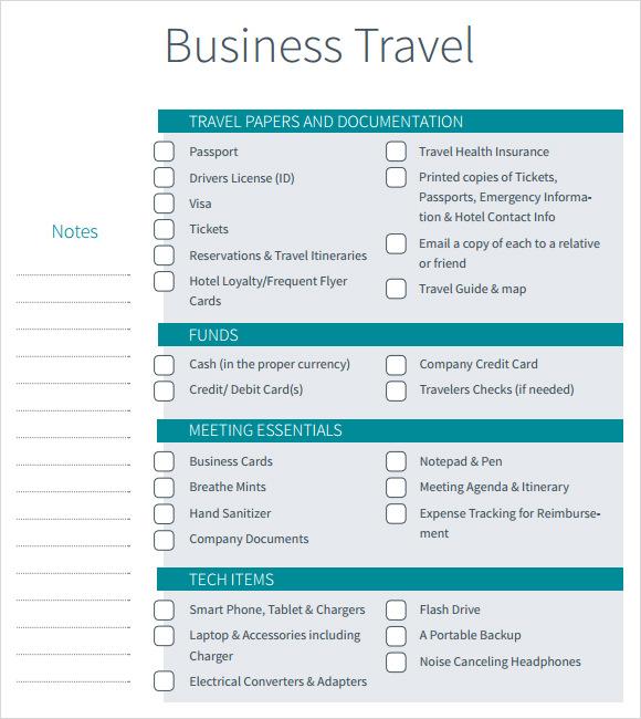 Business Trip Checklist Template Word | Best | Resume | Samples