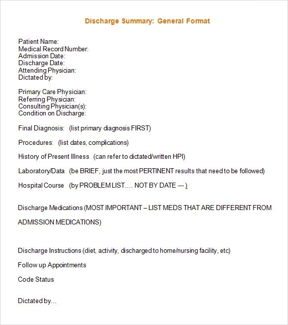 8 Sample Discharge Summary Templates – PDF Word Sample