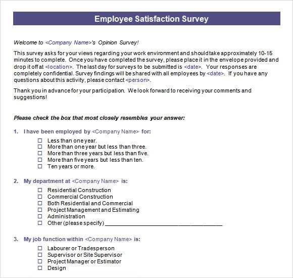 employee satisfaction survey samples