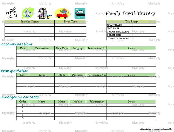 word travel itinerary template