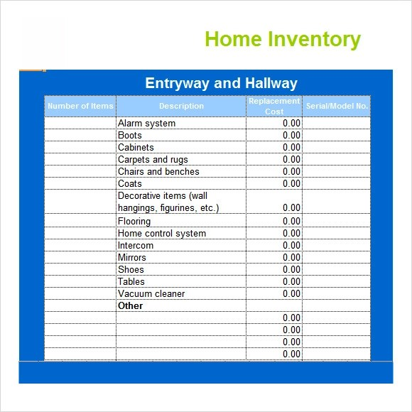 home inventory template