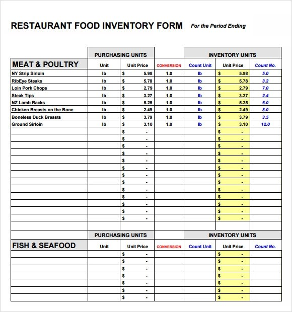 Sample Food Inventory  10 Document in PDF Excel