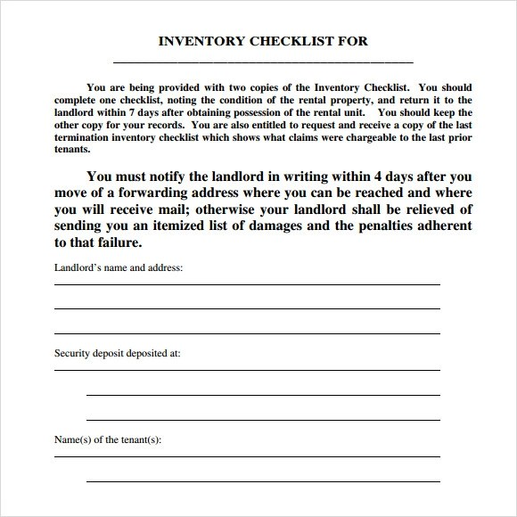 Landlord Inventory Template 7 Download Free Documents In