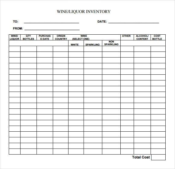 9 Sample Liquor Inventory Templates to Download  Sample
