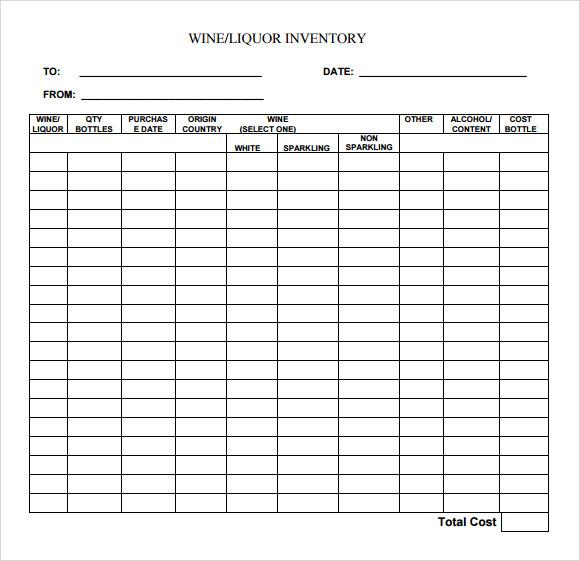 bar liquor inventory spreadsheet