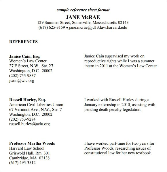 12 Sample Reference Sheet Templates To Download Sample