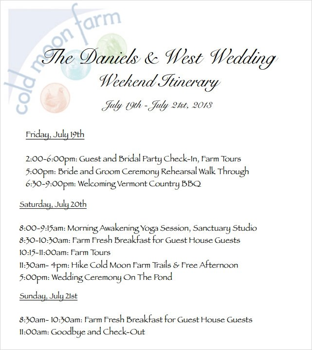 Wedding Itinerary Template 8 Download Free Documents In