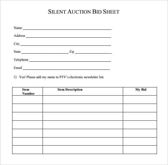 50+ Silent Auction Bid Sheets Free Download [Word, Excel, PDF]
