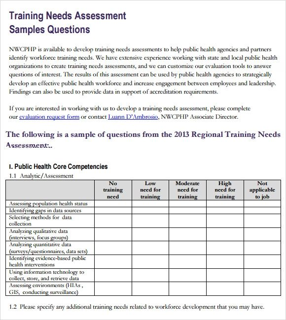 sales training needs analysis questionnaire