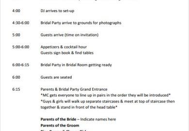 Sample Reception Itinerary Dynamic Weddings