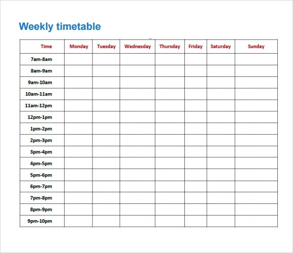 weekly time schedule template excel - April.onthemarch.co