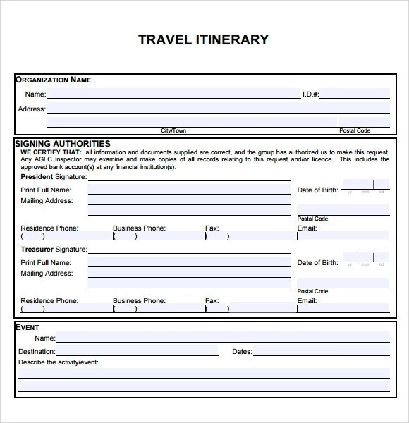 Travel Itinerary Sample Pdf | Distination.co
