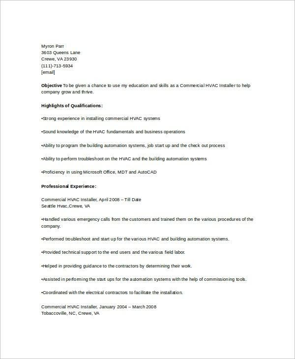 Sample HVAC Resume Template 6 Free Documents Download