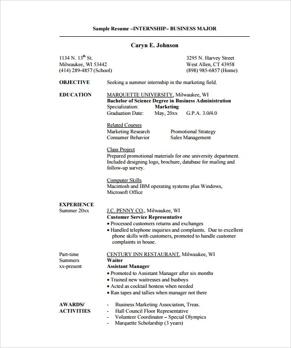 Internship Resume Templates In Pdf