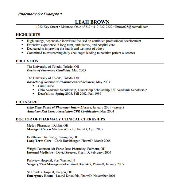 Sample Doctor Resume Templates In Pdf