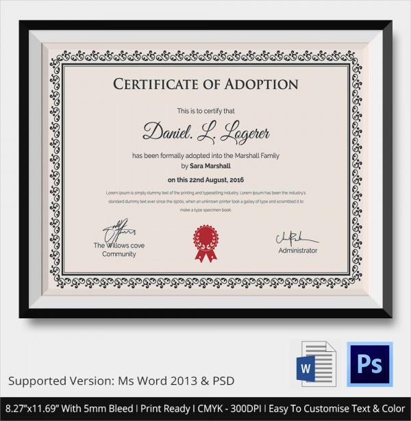 19 Sample Adoption Certificates Sample Templates
