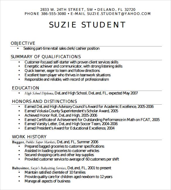Sample High School Resume Template  6 Free Documents in PDF Word
