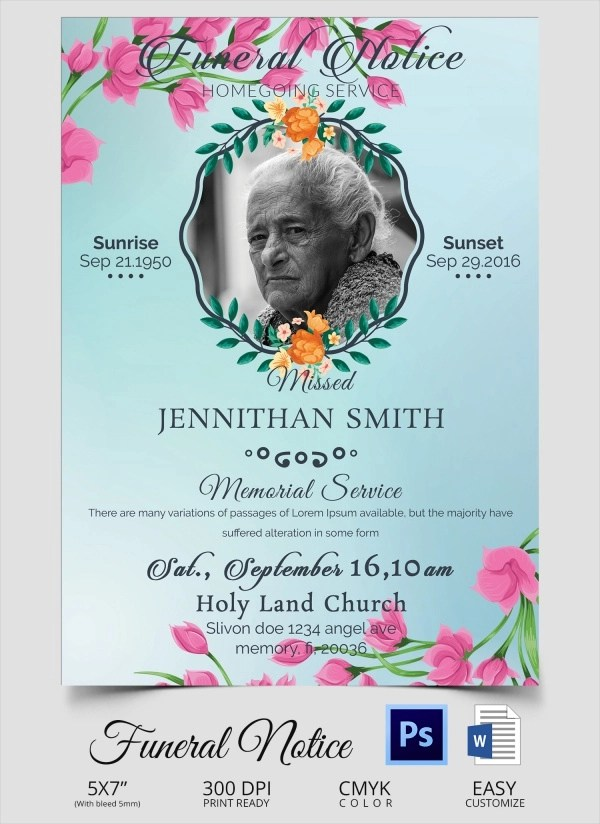 14 Funeral Notices Sample Templates