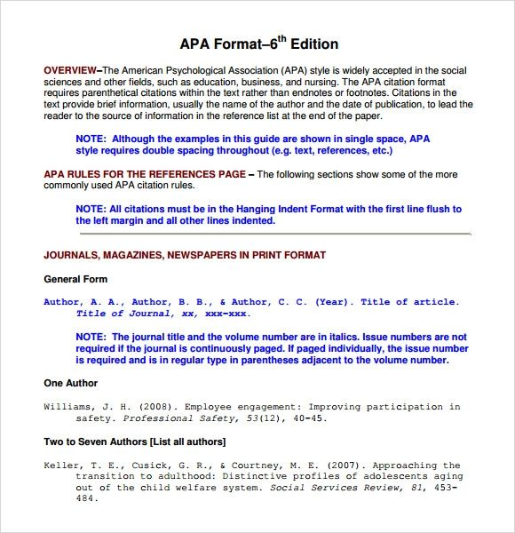table in apa format template