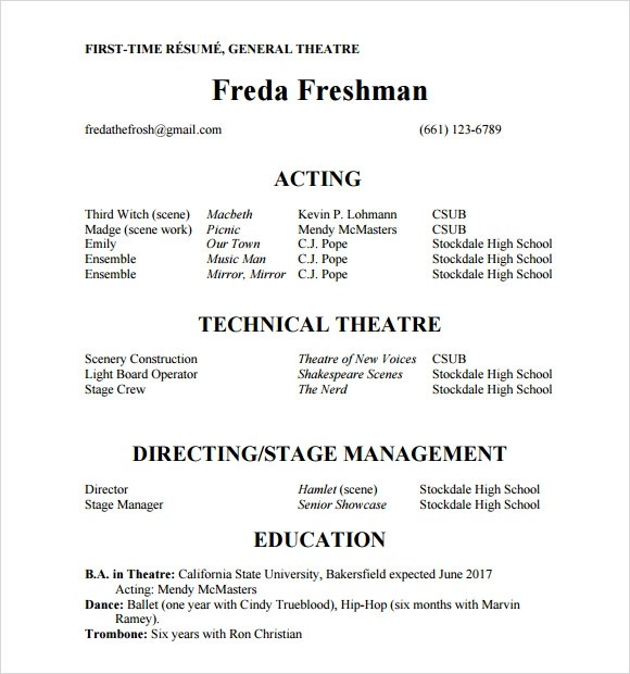 Theatre Resume Acting Resume Template Musical Theatre Resume
