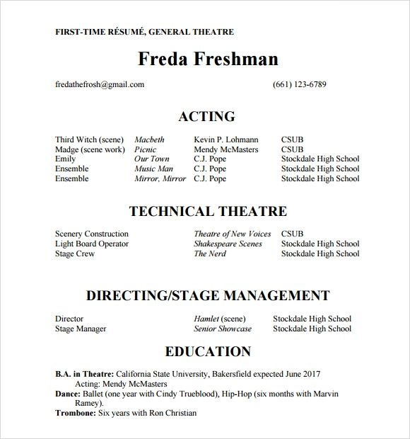 no experience acting resume template