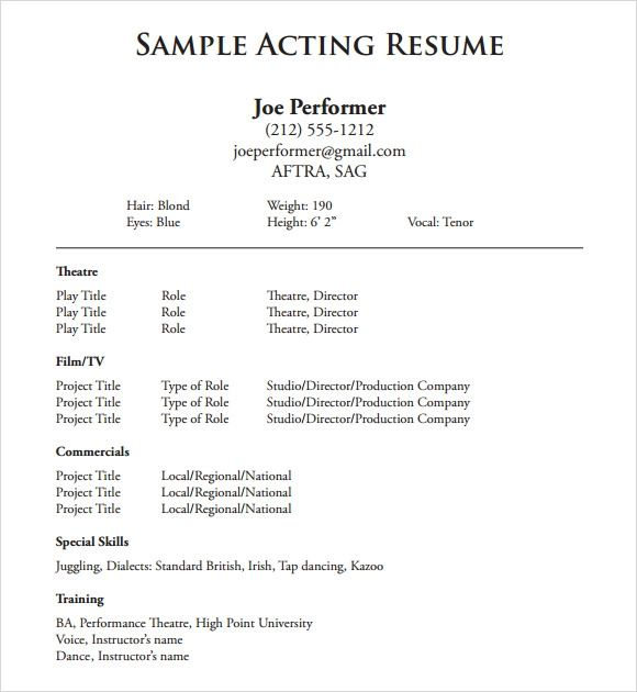 kid actor resume sample