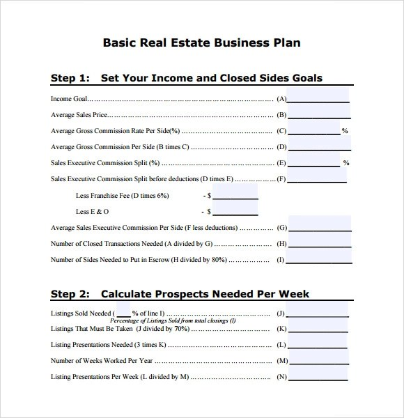 Sample Real Estate Business Plan Template 13 Free