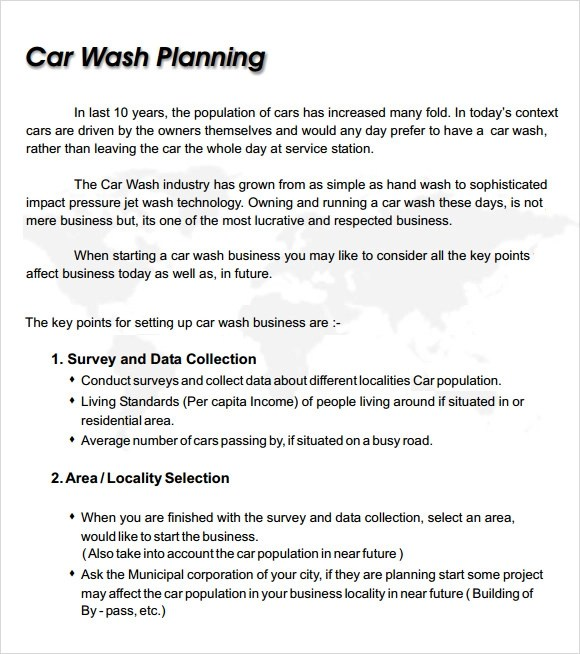 Car Wash Business Plan Template 8 Free Documents In PDF