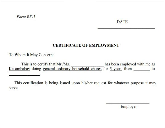 Employment Certificate Template - 8+ Download Free Documents ...