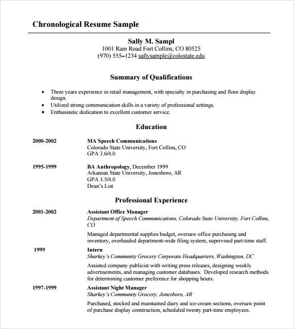 word resume layout