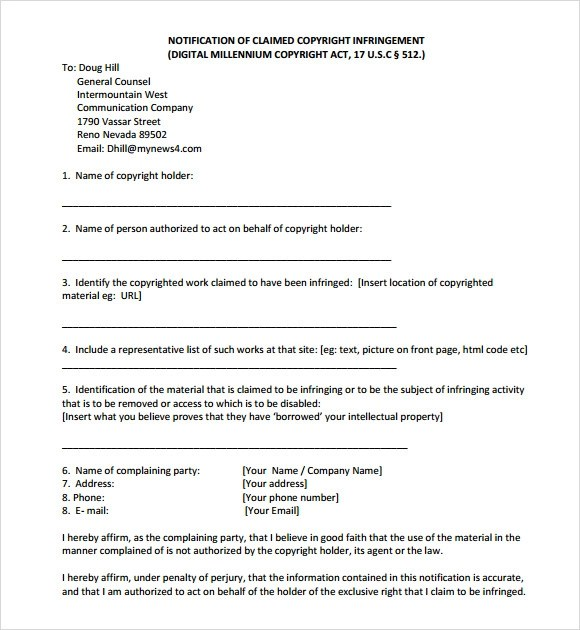 Copyright Infringement Letter  Docoments Ojazlink