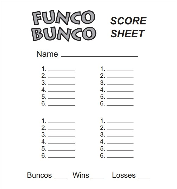 13 Sample Bunco Score Sheets Templates to Download