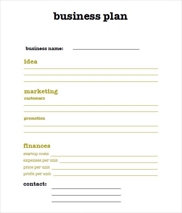 9 Sample SBA Business Plan Templates Sample Templates