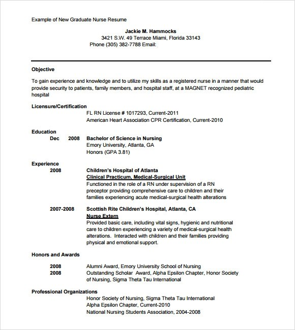 New Nurse Resume Template New Grad Rn Resume Examples Sample  New Nurse Resume Template