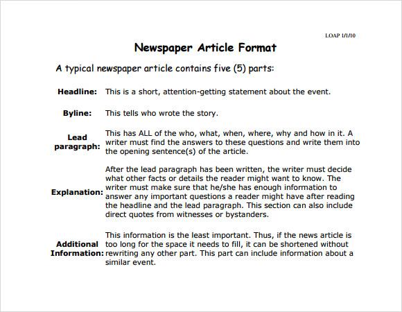 8+ Newspaper Article Samples  Sample Templates