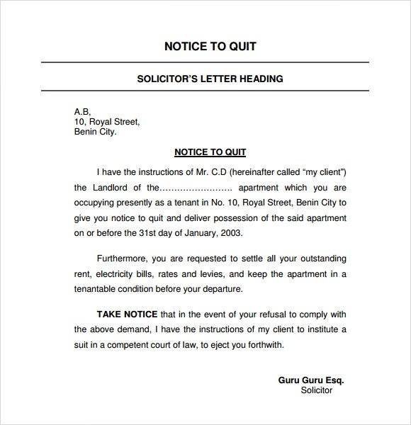 60 day notice to vacate letter