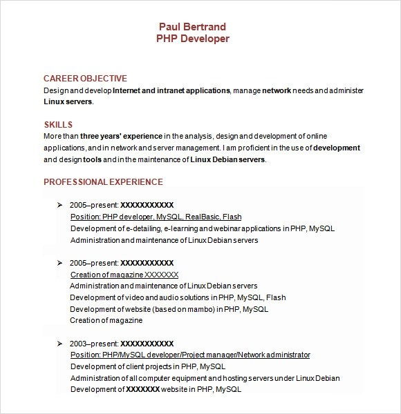 10 Sample PHP Developer Resume Templates to Download | Sample Templates
