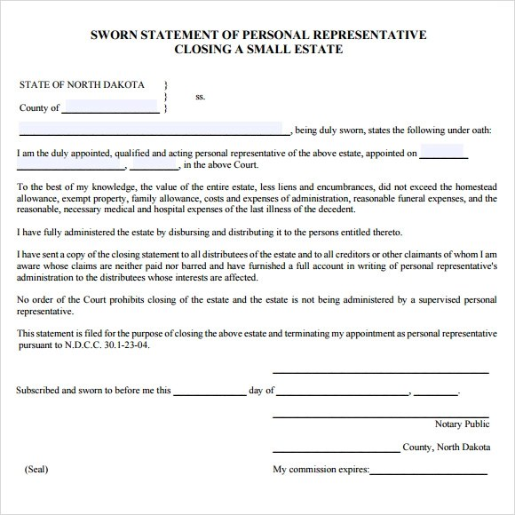 Sworn Declaration Template  Free Download