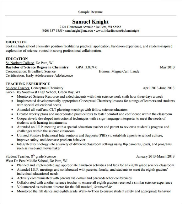 10 Sample Teacher Resume Templates To Download Sample