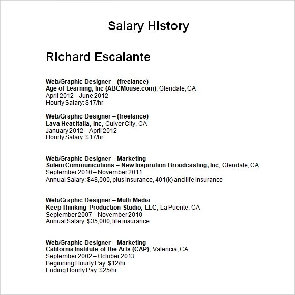 Salary History Template 6 Download Free Documents In PDF Word