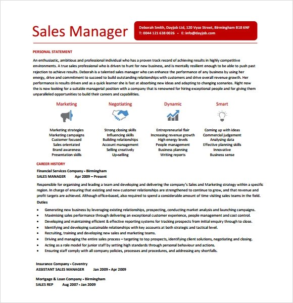 9 Sales Resume Templates  Download Documents in PDF