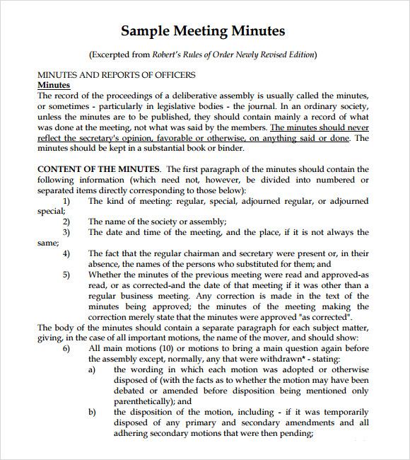 sample minute of meeting