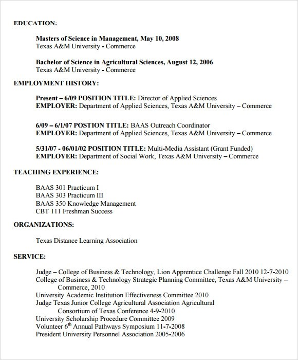 7 Sample Agriculture Resumes Sample Templates