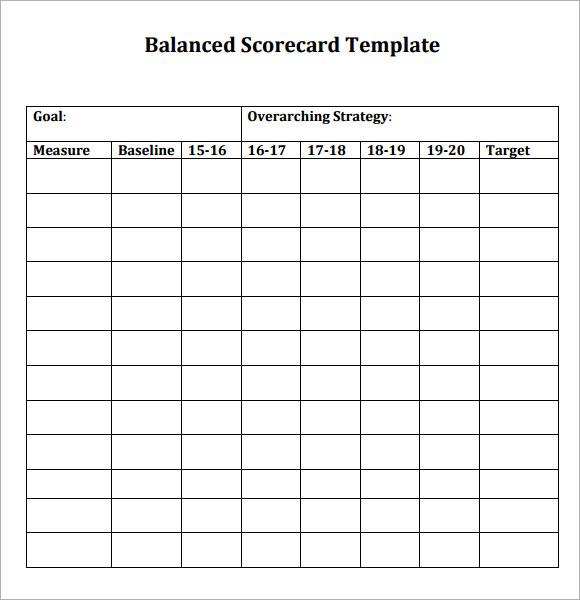 8+ Sample Scorecards  Sample Templates