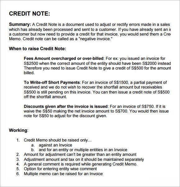 ... Credit Memo Samples   Credit Memo Letter ...  Credit Note Letter
